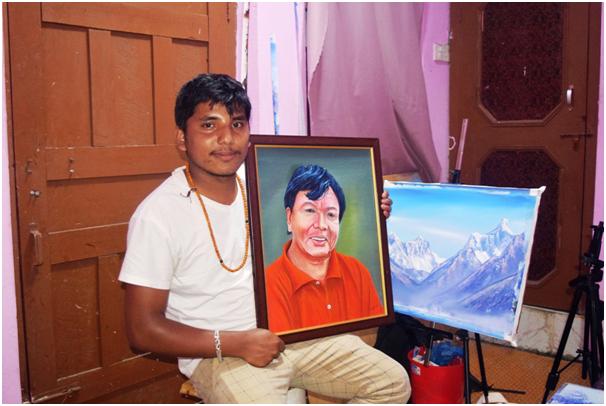 चित्रकारले  महावीर पुनको उतारेको चित्र