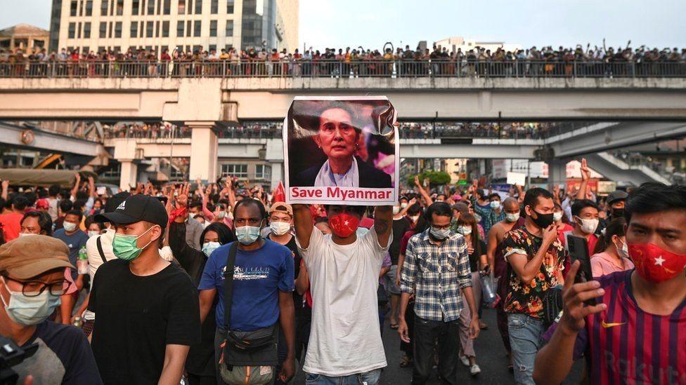 बर्मामा भइरहेको मानवता विरुद्ध ध्यानाकर्षण गराउन विरोध प्रदर्शन